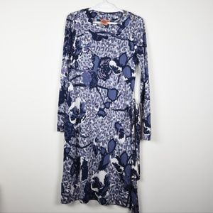 Tory Burch Floral Leopard Print Silk Shift Dress M